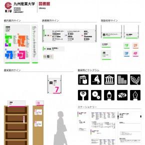九州産業大学図書館のサイン計画